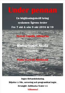 Under pennan 2016 Läskvällar kring syskonen Ågrens texter.